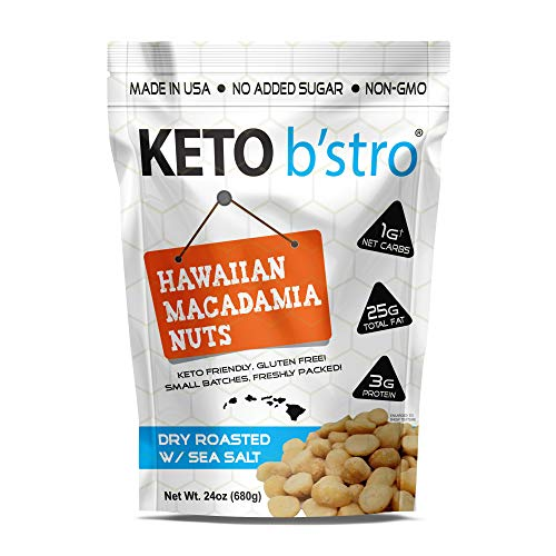 Keto B'stro - Hawaiian Macadamia Nuts, Dry Roasted, Sea Salted, Made in USA, 24oz