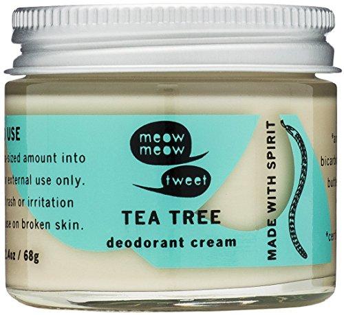 Meow Meow Tweet Natural Deodorant for Sensitive Skin - Baking Soda Deodorant Cream - Tea Tree