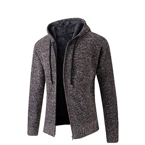 Mr.BaoLong&Miss.GO Autumn and Winter Mens Jackets Mens Jackets European Size Mens Thick Knit Sweater Hooded Plus Fleece Sweater Cardigan Mens Jacket Tide Brown