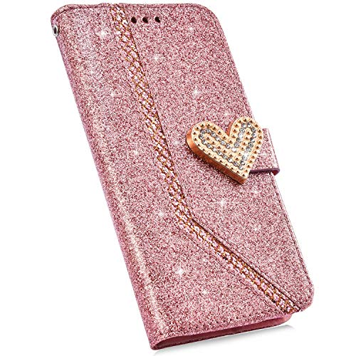 Compatible con Funda Samsung Galaxy J530 Carcasa 3D Diamante Brillante Glitter Billetera Cuero PU Cover Case Bumper Libro Folio Flip Soporte Plegable Protectora Cartera Magnético Caso,Oro Rosa