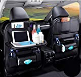 Car Backseat Organizer, PU Leather Car Seat Back Storage, Car Seat Protector, Multifunction Storage Pocket With 7 Pockets and Tablet Holder for Travelling Storage Bottles Toys and etc (Black) (1 Pack)