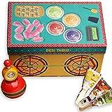 DESi Handmade Premium Thela Gadi Gift box - Contains DESi POPz, Wooden Lattu, 600 grams