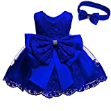 Toddler Baby Girls Dress Lace Princess Baptism Cocktail Party Flower Bowknot with Headwear(Navy Blue6M)