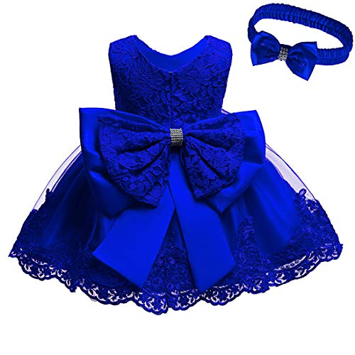 Toddler Baby Girls Formal Lace Dress Birthday Dress Baptism Christening Wedding Party Flower Dress with Headwear 0-24 Months (Navy Blue, 0-3 Months)