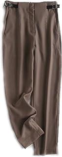 بناطيل نسائية من TshirtzhyestNKZ، أزياء النساء حزام الخصر تزين بدلة السراويل سحاب جيوب سروال أنيق (اللون: بني، المقاس: صغير)