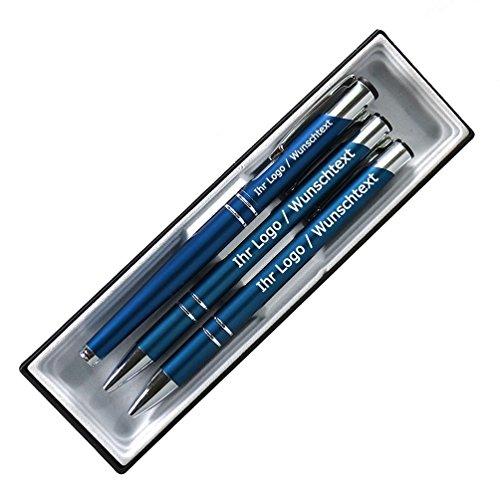 Edles Schreibset aus Metall mit Füller, Druckbleistift und Kugleschreiber mit Wunschgravur in Etui. 8 Farben wählbar, Farbe:C-10 (dunkel blau)