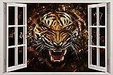 Pegatinas de pared Tiger Breaks Glass Window View Decal WALL STICKER Home Decor Art Mural Animals