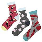 soxo Damen oder Mädchen Socken (3 Paar) | Lustige Verschiedene Motive | Lange Söckchen für Frauen | Grössen 35-40 (Set_4)