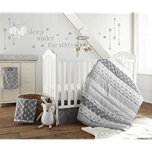 Levtex Baby Everett Grey and White Woodland Animals 5 Piece Crib Bedding Set, Quilt, 100% Cotton Crib Fitted Sheet, Dust Ruffle, Diaper Stacker and Large Wall Decals