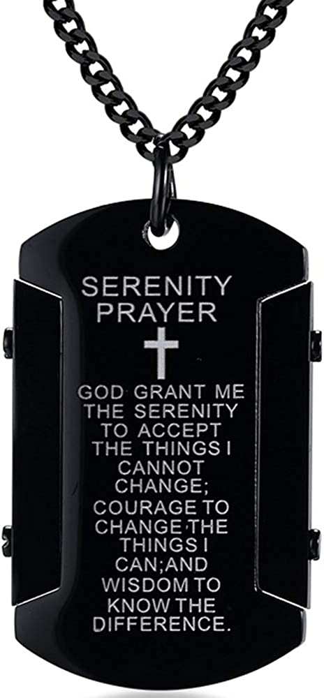 Jude Jewelers Stainless Steel Christian Cross Serenity Prayer Religious Pendant Necklace