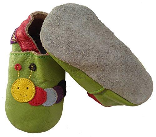coolMYP©chromfreie Krabbelschuhe, Baby Schuhe, Lederschuhe ohne Chrom, Lernlaufschuhe (L, grün-Raupe)