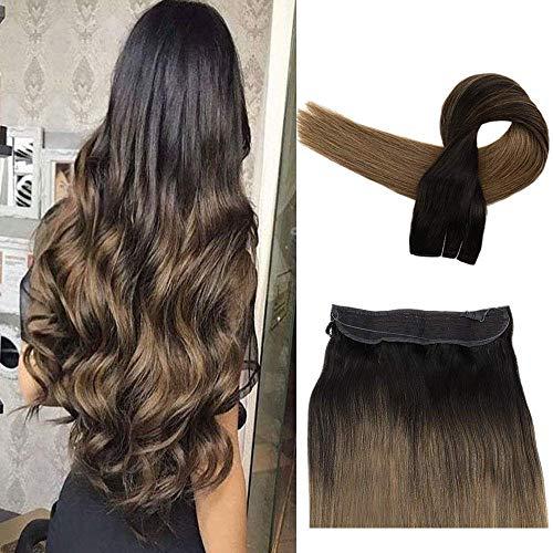 Easyouth 18 Zoll Halo auf Echthaarverlängerung der Farbe 2 Dunkelstes Braun Verblassen zu Farbe 8 Aschbraune Kronenverlängerung für Frauen Unsichtbares Angelschnur-Haar