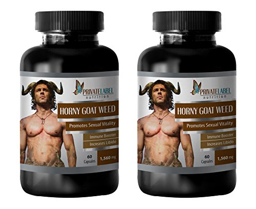 Libido Support for Men - Horny Goat Weed (Powerful Formula) - Horny Goat Weed Complex - 2 Bottles 120 Capsules