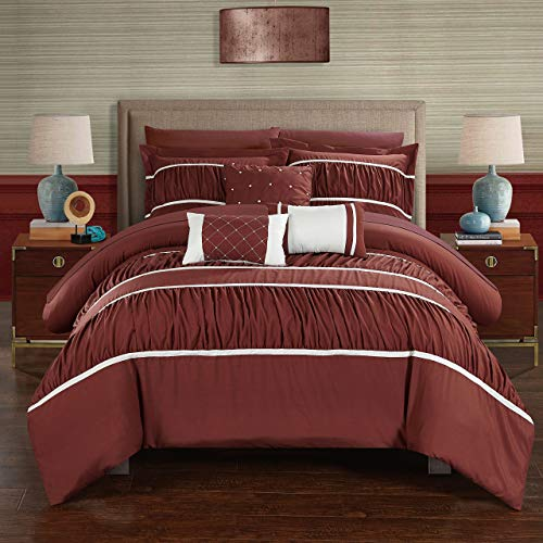 Chic Home Cheryl 10 Piece Pleated & Ruffled Bed in a Bag Comforter Brick with Sheet Set, Queen