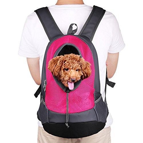 NHSUNRAY Pet Carrier zaino per piccolo cane gatto Puppy(8lbs Less) On-the-Go viaggio Pet anteriore posteriore borsa Soft traspirante Mesh Pup Pack 42 * 38 * 20cm (Rossa)