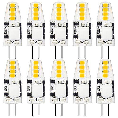 Bombilla LED G4 2W 200lm de repuesto para bombillas halógenas de 20W 12V AC/DC, blanco cálido 3000K, 360 grados, lámpara LED con base de clavija bombillas pequeñas no regulables, paquete de 10 bomb