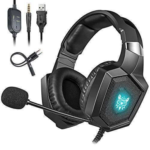 Cocoda Cascos Gaming para PS4 Xbox One(Necesita Adaptador) S X PC Laptop, Auriculares Gaming con Microfono Estéreo Cancelación de Ruido, RGB Luz LED, Suave Memoria Orejeras