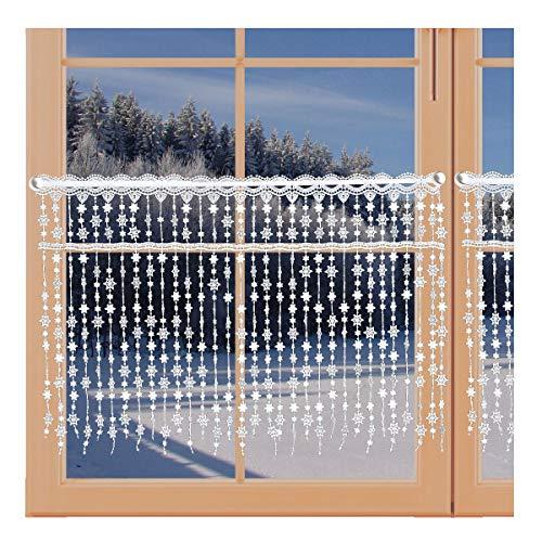 artex deko Wintergardine Schneesternchen Fadengardine mit Sternen Scheibengardine Echte Plauener Spitze