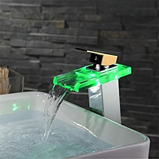 iFaucet LED Chrome Bathroom Faucets Water Flow Color Changing Discount Vessel Faucet