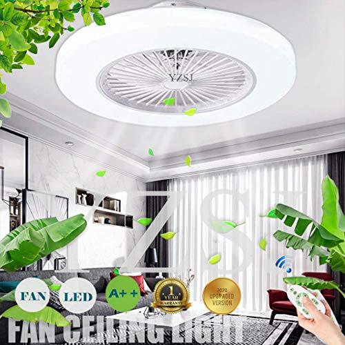 Ventilador Luz De Techo Con Iluminación LED Luz Regulable 80W Lámpara De Techo Velocidad Del Viento Ajustable Con Control Remoto Temporización Ultra Silenciosa Sala De Estar Dormitorio Fan Luz,Blanco