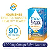 TheraTears 1200mg Omega 3 Supplement for Eye Nutrition, Organic Flaxseed Triglyceride Fish Oil and Vitamin E,...