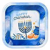 Hanukkah Plates - 9 Inch - 10 Pack - Hanukkah Paper Goods - Blue and White Chanukah Themed Party Supplies