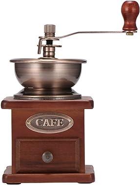 Manual Coffee Grinder, Coffee Mill Grinder, Coffee Bean Grinder Vintage Antique Wooden Hand Grinder with Adjustable Gear Sett