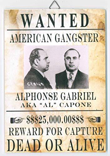 Replik Vintage nummerbord – Wanted American Gangster (afmeting 20 x 14 cm) – met dubbelzijdige sticker