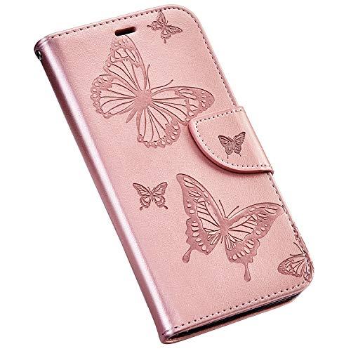 Jinghuash Compatible avec iPhone X/iPhone XS Coque,Portefeuille en Cuir à Rabat Housse de Protection,Papillon et Fleur Motif Étui Magnétique Carte Slo