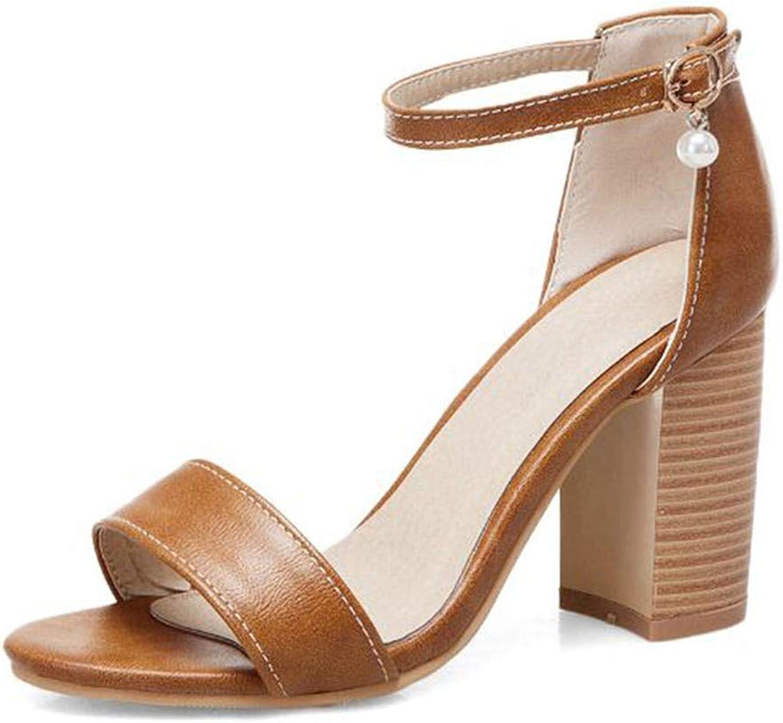 GAO-GEN1 32-50 Women Simple Bead Buckle Sandals High Heels Wedding Dating Party shoes Women Western