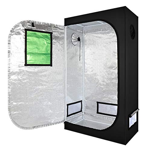 Mulple Grow Tent 90x50x160CM 35x20x62 Inch Reflective Mylar Hydroponic Grow Tent with Observation Window and Waterproof Floor Tray for Indoor Plant Growing