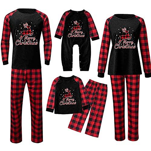 Conjunto de pijama de Navidad para familias, largo, divertido, para hombre, mujer, niño, niña, camisón, ropa de casa, calentito, traje de Navidad, ropa para el hogar, 2 piezas, Negro-niños, 8 años