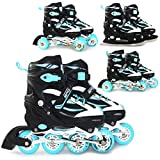 SportVida 4in1 Inline Skates Roller Blades | Iceskating | QUAD Roller Skates | Adjustable Size | Children Kids Adults Men Women (Turquoise, EU 39-42 UK 5,5-8)