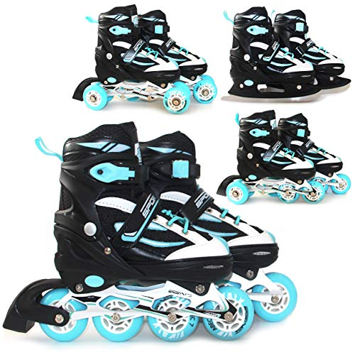 SportVida Inline Skates Kinder Erwachsene Inliner 4in1 | Verstellbare Schlittschuhe | Triskates ABEC7 Lager Rollschuhe Größenverstellbar (Schwarz-Türkis, 39-42)