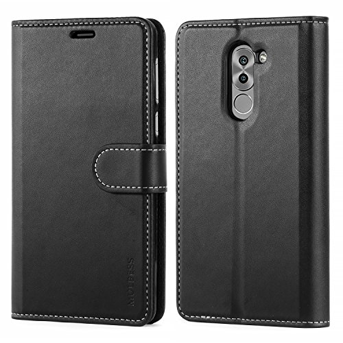 Mulbess Business Style Ledertasche im Ständer Book Case / Kartenfach für Huawei Honor 6X Tasche Hülle Leder Etui,Schwarz