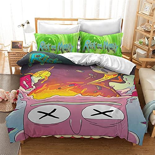 LKFFHAVD Rick and Morty Juego de ropa de cama Anime Rick Morty, funda de edredón con impresión 3D de microfibra de dibujos animados con fundas de almohada, para adultos y niños (200 x 200 cm)