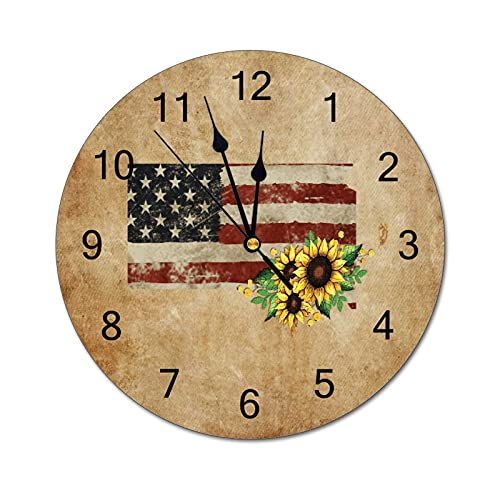 South Dakota Wall Clock Map State Home State Homeland 12 Inch Wooden Wall Clock,Battery Operated,Farmhouse Wall Decor Home Decor for Kitchen,Living Room,Bedroom,Office