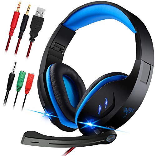 Gaming Headset with Microphone for Laptop,PC,PS4,Xbox ONE.maxin 3.5mm Wired Gaming Headphones with Noise Cancelling Volume Control Stereo Sound - Black and Blue