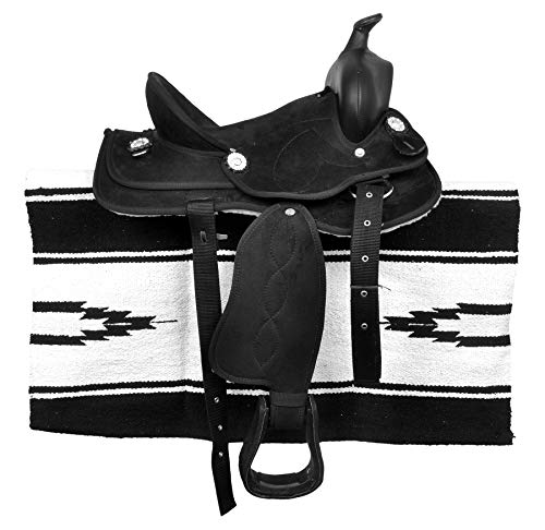 """HR, International Synthetic Western Barrel Racing Horse Saddle Tack, Get Matching Headstall, Breast Collar, Reins & Saddle Pad, Size 15"""" Inches Seat"""