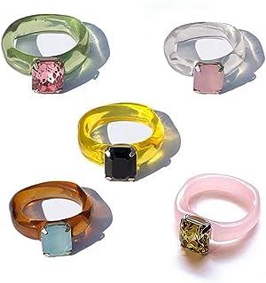 HUANG 5 pièces Anneau de résine Acrylique Cristal Anneaux irrégulier géométrique Bande Anneau coloré Strass Anneau Transpa...