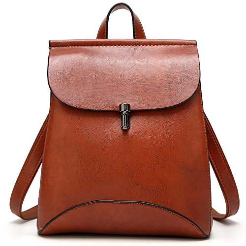 MATERIAL: Material Updated To Good Quality PU Leather. It's a Beautiful and Simplistic Design Leather Botton Closure Shoulder Bag Women Fashion Backpack. CLOSURE: Botton Closure,no has top zipper close.Special Designed Flap for Extra Safety.Pu leathe...