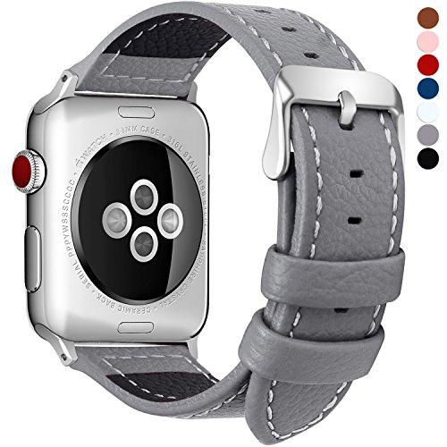 Fullmosa kompatibel mit Apple Watch Armband 38mm 40mm,Leder Uhrenarmband Serie5 4 Ersatzarmband für iWatch Band iwatch Series 5/4/3/2/1,Grau 38mm