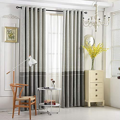 VOGOL 2 Panels Grommet Curtains Simple Style Chenille Jacquard Elegant Window Drapes for Living Room Bedroom, 52x84, Gray