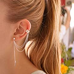 EQLEF 2 Pairs Women Girl Stylish Punk Rock Alloy Leaf Iron Chain Tassel Dangle Ear Cuff Warp Earring Silver And Golden Earrings In Jewellery (Leaf) #4
