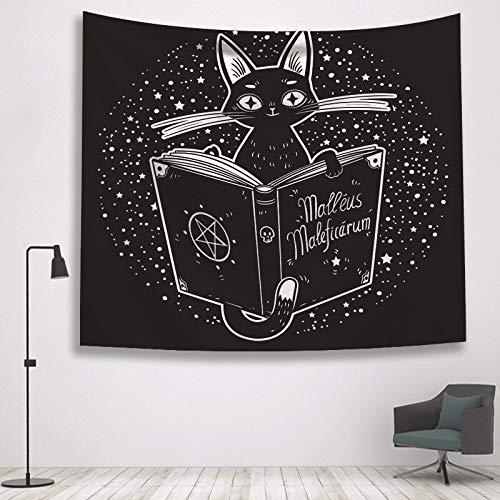 KHKJ Psicodélico Tapiz Colgante de Pared en Blanco y Negro Luna Sol Estrella impresión Tarot Tarjeta Manta decoración para el hogar A17 200x150 cm