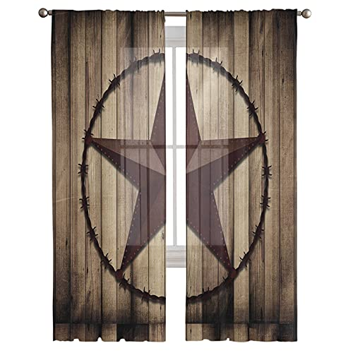 Semi Sheer Curtains for Living Room,Voile Curtains & Drapes,Texas Rustic Country Style Star on Wooden Board Light Filtering Curtains for Sliding Glass Door,52x96 Inch,2 Panels