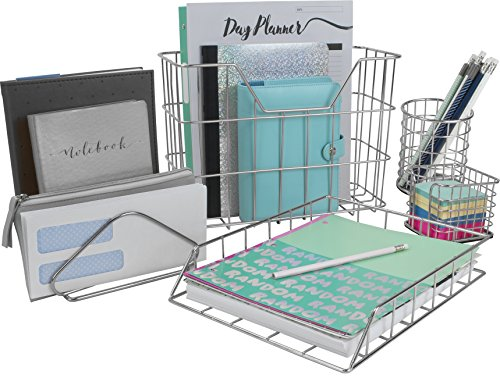 Sorbus Desk Organizer Set, 5-Piece Desk Accessories Set Includes Pencil Cup Holder, Letter Sorter, Letter Tray, Hanging File Organizer, and Sticky Note holder for Home or Office (Silver)