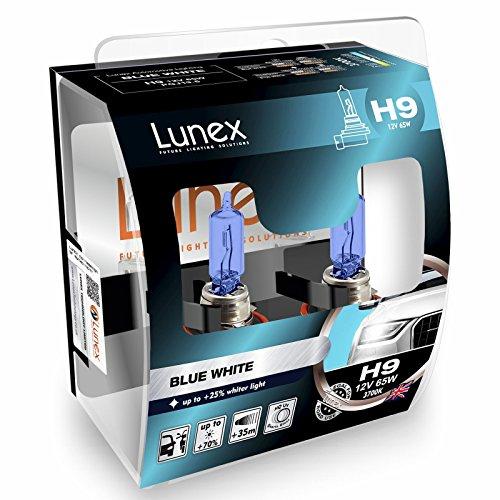 LUNEX H9 Blue White Ampoules Halogenes Phare Effet Bleu 709 12V 65W PGJ19-5 3700K duobox (2 pièces)