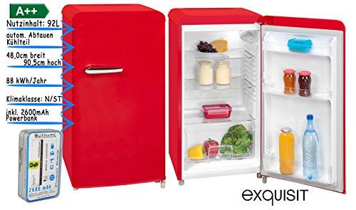 Retro Kühlschrank Vollraum | Kühlschrank Ohne Gefrierfach | 92 Liter Nutzinhalt | LED Innenbeleuchtung | Schicker Retro Türgriff | Rot | Powerbank 2600 mAh im Lieferumfang enthalten