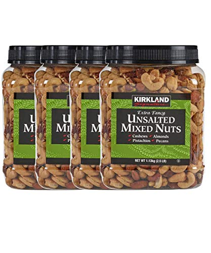 Kirkland Signature Extra Fancy Mixed Nuts, and Shelled, unsalted 160 Ounce (Pack of 4)